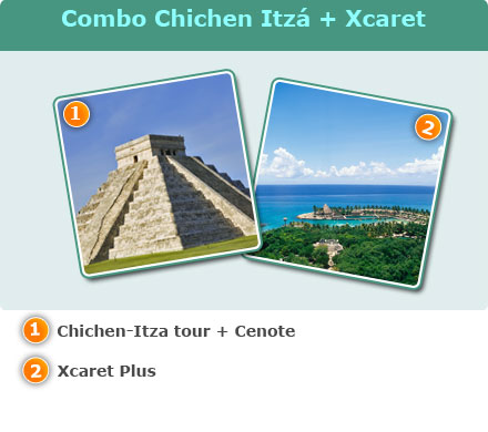 Chichen-Itza & Xcaret Combo-Chichen-Itza tour + Cenote<br>Xcaret plus tour with transportation<br>