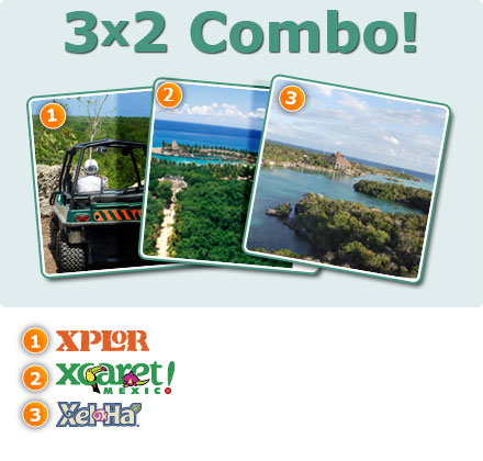3x2 Combo: Xplor + Xcaret Plus + Xelha All Inclusive-Only Xel-HA all inclusive Package 3<br>Xcaret plus tour  Package3<br>Xplor Tour Package 3<br>