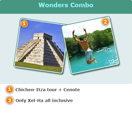Wonders Combo-Chichen-Itza tour + Cenote<br>Only Xel-Ha all inclusive with transportation<br>