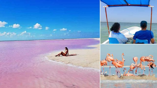 Pink lakes at las coloradas