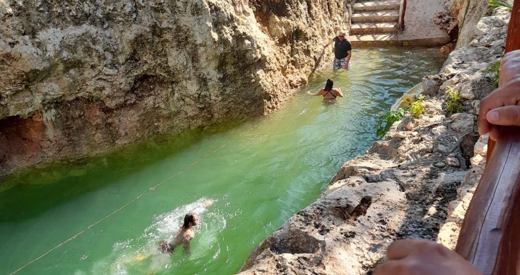 swiming at cenote koleeb caab