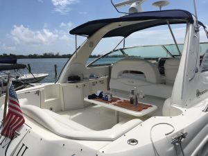 Perspective of luxury yatch at Cancun