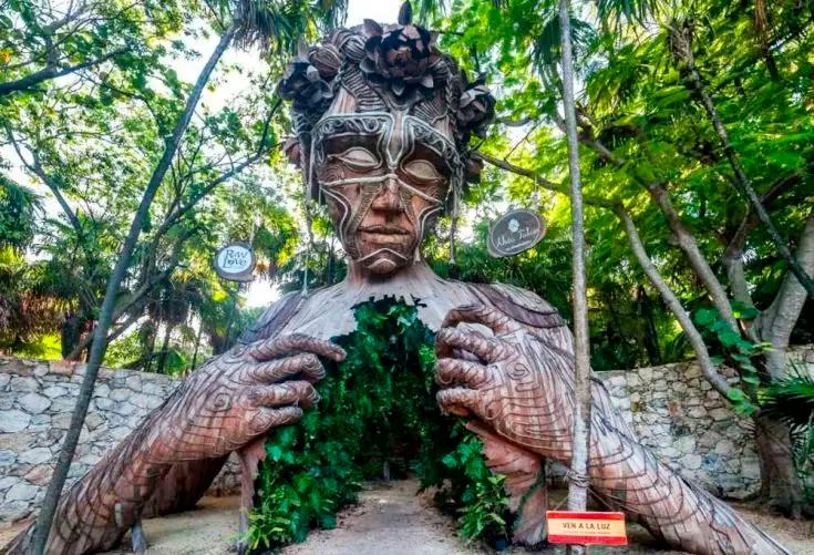 Coming into light sculture in Tulum
