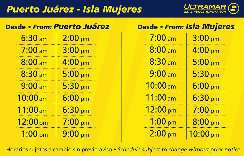 Schedule table for boat arrivals and departures to Isla Mujeres