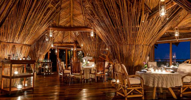 Deluxe restaurant in Cancun, interior view