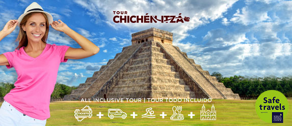 blond woman very happy to be in Chichen Itza
