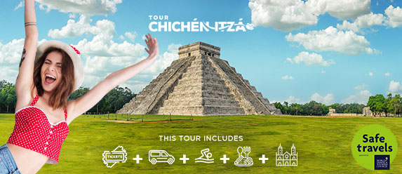 Young girl exited to be in Chichen Itza