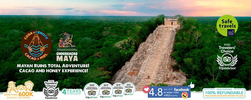 Coba landscape pyramid poster